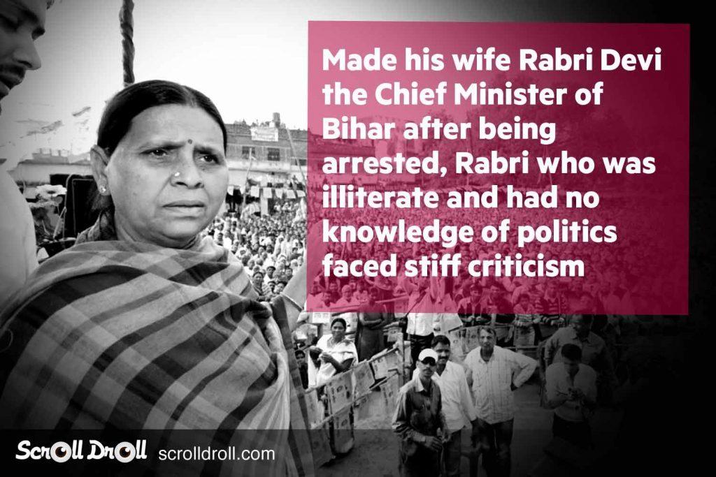Lalu Prasad yadav made his wife Chief Minister of Bihar