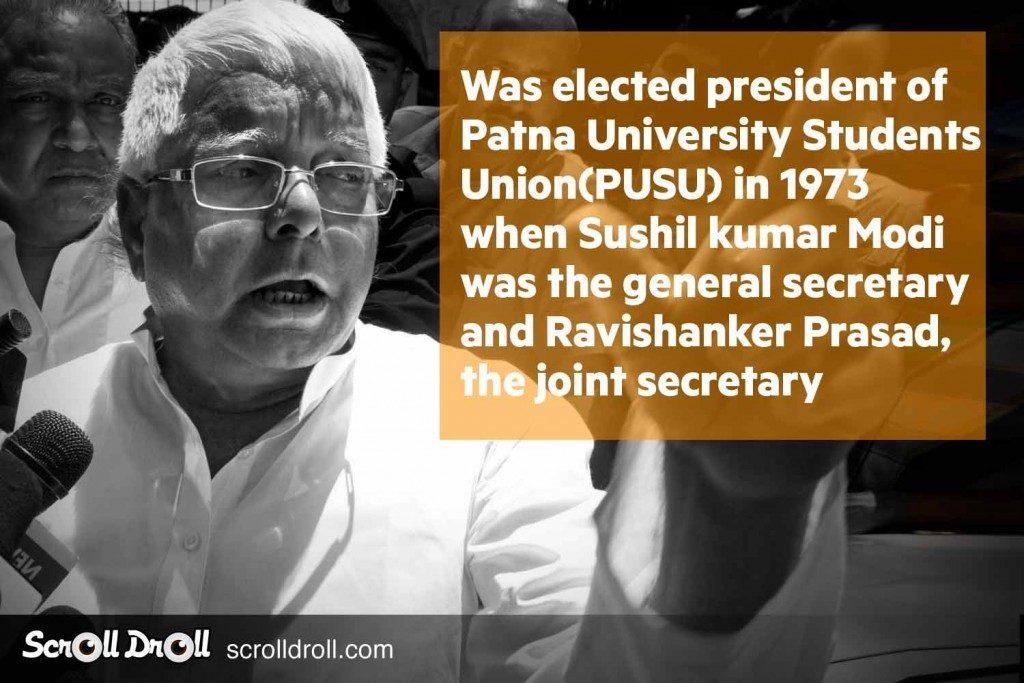 Lalu Prasad yadav was elected a president of Patna University