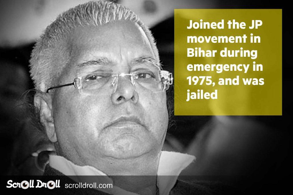 Lalu Prasad yadav joined the JP movement in Bihar in 1975