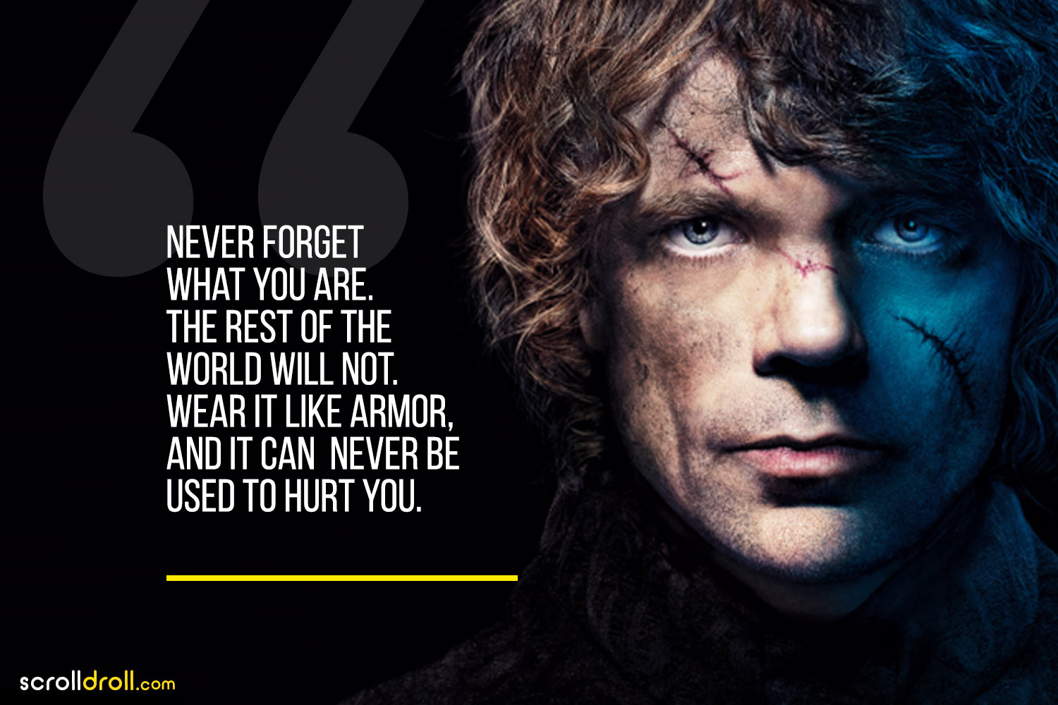Tyrion-Never forget what you are,the rest of the world will not wear it like armor, and it can never be used to hurt you