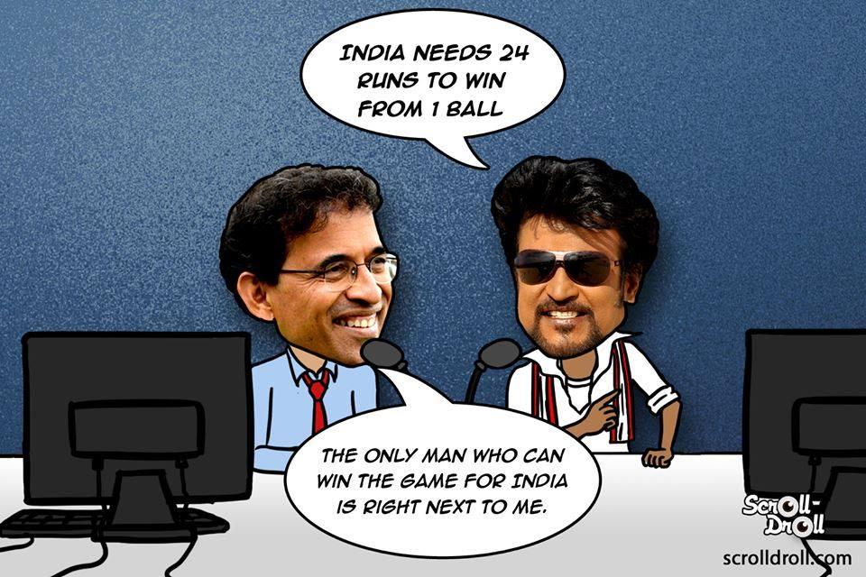 Rajnikanth As Cricket Commentator