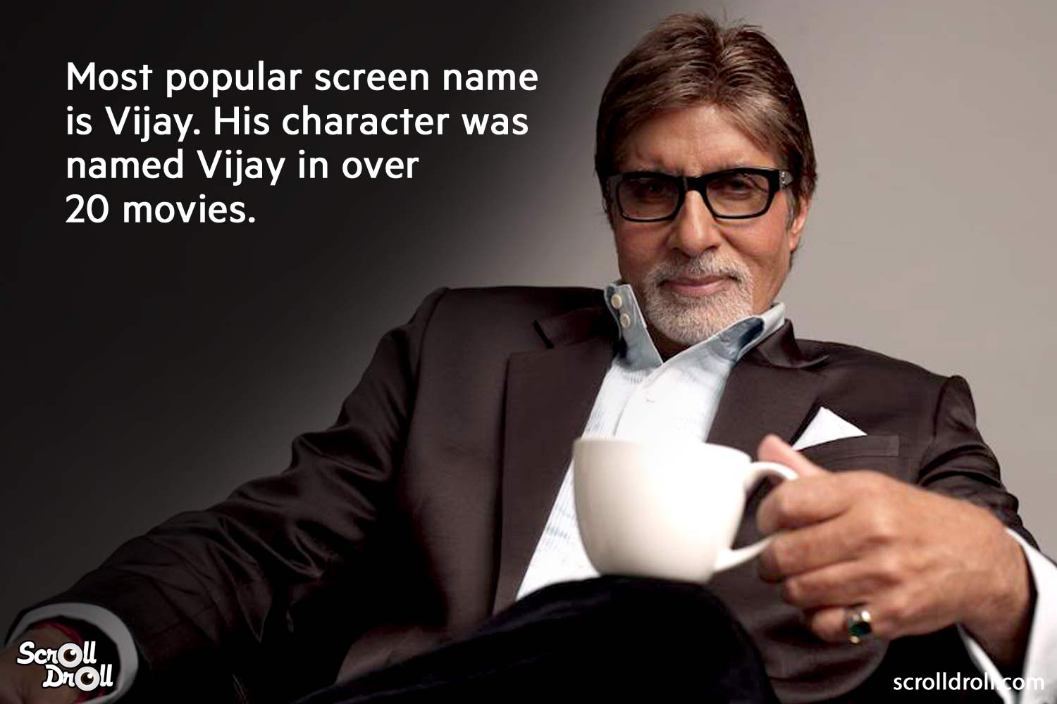 most poplar screen name is vijay. his character was named vijay over 20 movies-amitabh bachchan facts