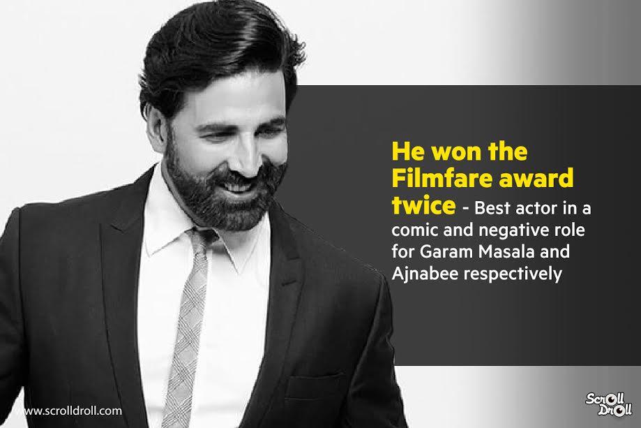 akshay kumar won filmfare award twice-akshay kumar facts-akshay kumar facts