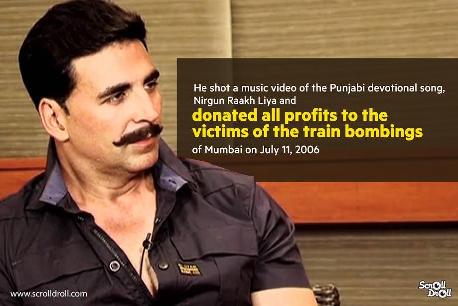 akshay kumar donated profit of nirgun raakh liya to victim of train bombings