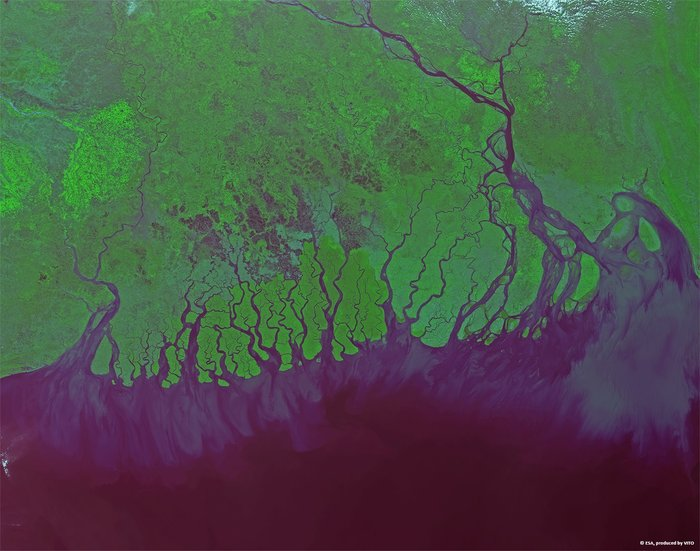 A view of the mouth of Ganga (in Bengal and Bangladesh) from the space from Proba-V-India From Space