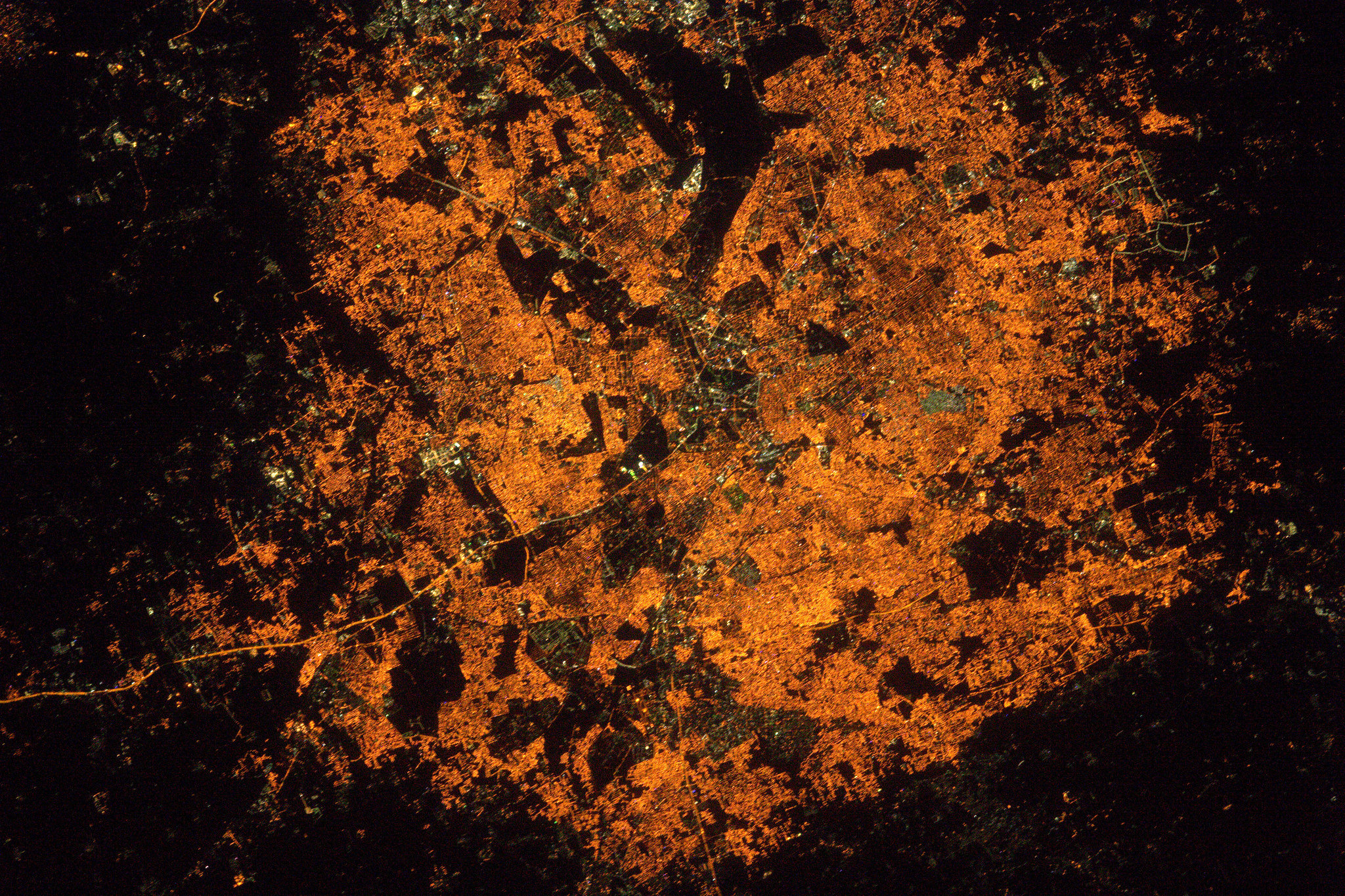 This is a photograph of Bengaluru tweeted by astronaut Thomas Pesquet from space in Feb 2017-India From Space