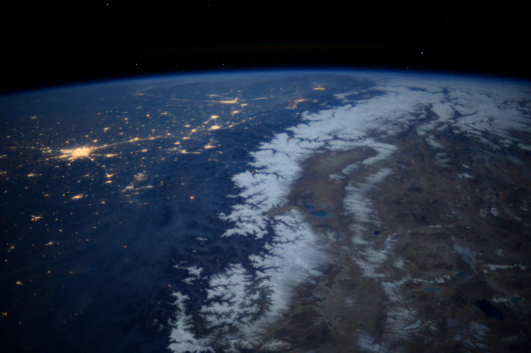 another shot of moonlit Delhi and The Himalayas from Space shared by astronaut Tim peake-India From Space