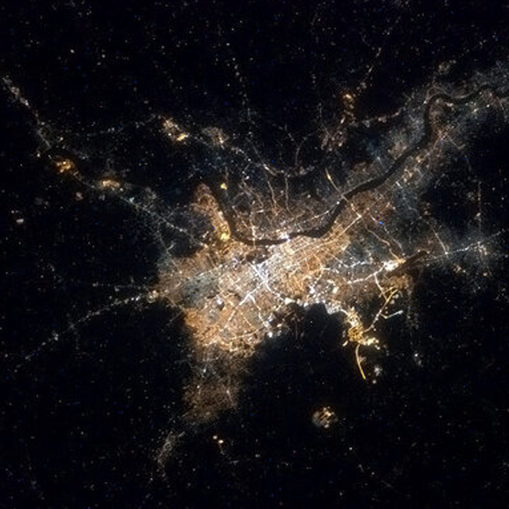 Astronaut Chris Hadfield tweeted this image of Kolkata from Space in Feb 2013-India From Space