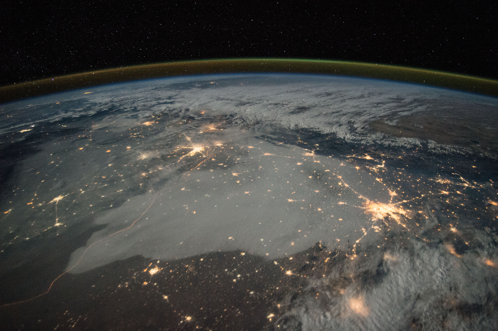 This is a long exposure shot of Northern India from the International Space Station.-India From Space