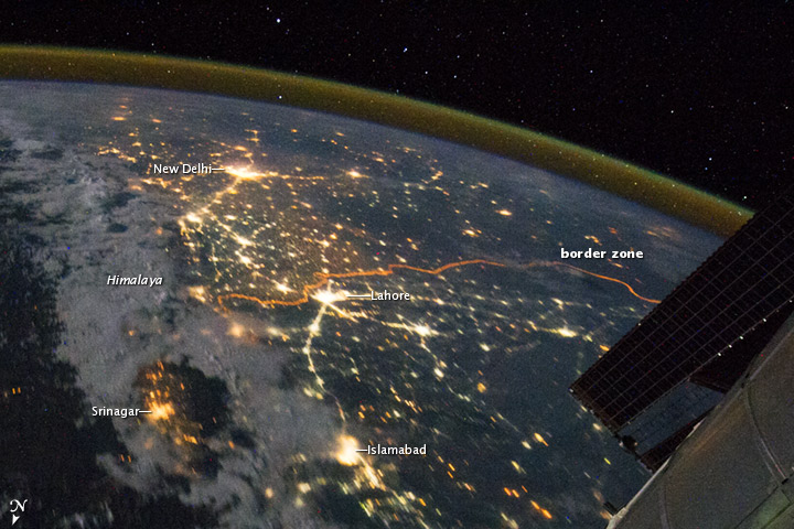 This is another shot of Northern India with Delhi, Srinagar, India Pakistan border and a few cities of Pakistan from NASA-India From Space
