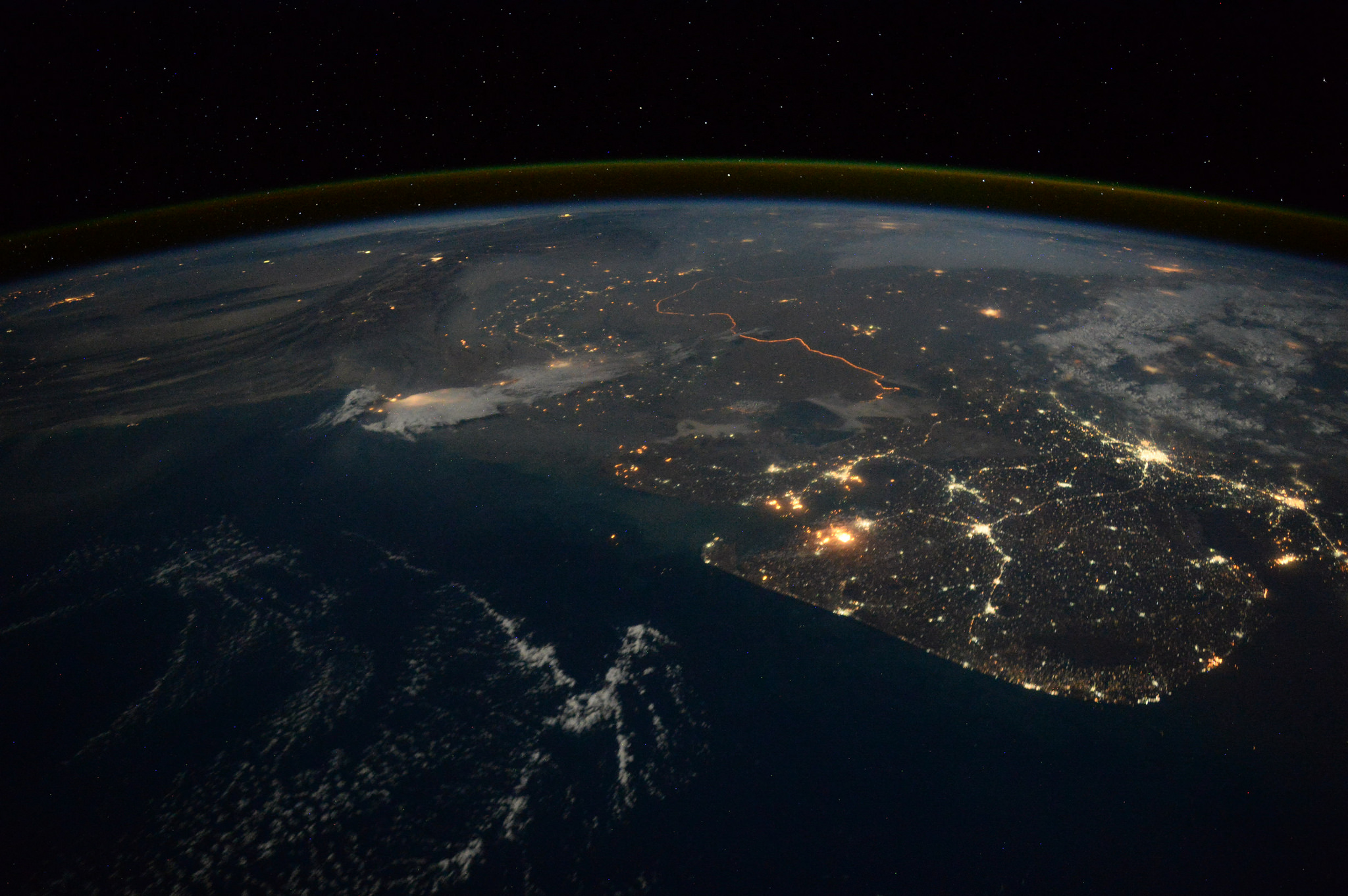 Tim Peake's photograph while approaching Ahmedabad-India From Space