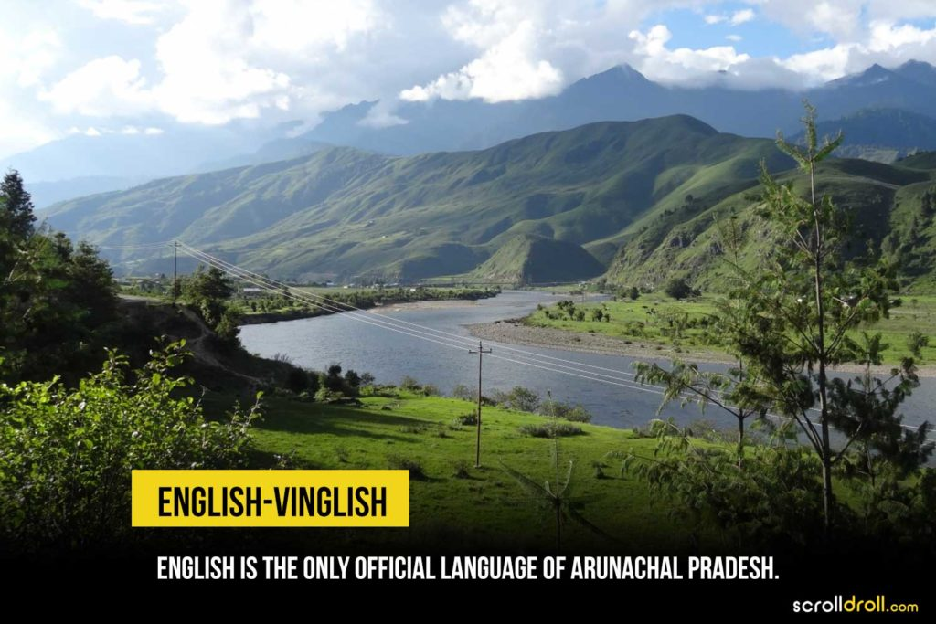 English is the official language in arunacha pradesh